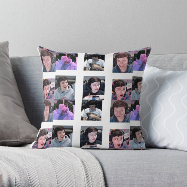 GeorgeNotFound Sticker Pack :D Throw Pillow RB0906 product Offical GeorgeNotFound Merch