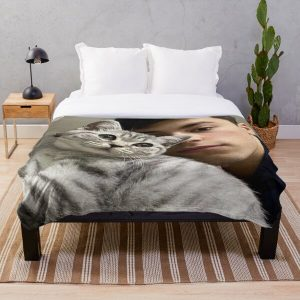 GeorgeNotFound with his cat Throw Blanket RB0906 product Offical GeorgeNotFound Merch
