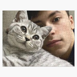GeorgeNotFound with his cat Jigsaw Puzzle RB0906 product Offical GeorgeNotFound Merch