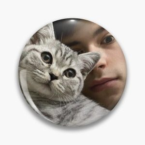 GeorgeNotFound with his cat Pin RB0906 product Offical GeorgeNotFound Merch